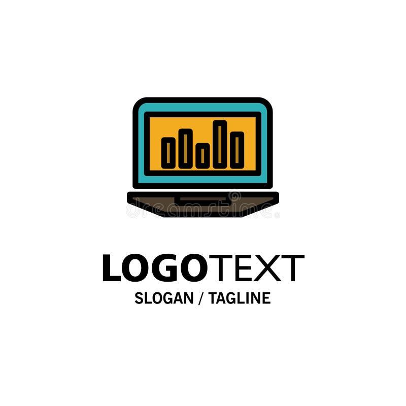 Laptop, Grafiek, Analytics, Controle, Statistiekenzaken Logo Template vlakke kleur vector illustratie