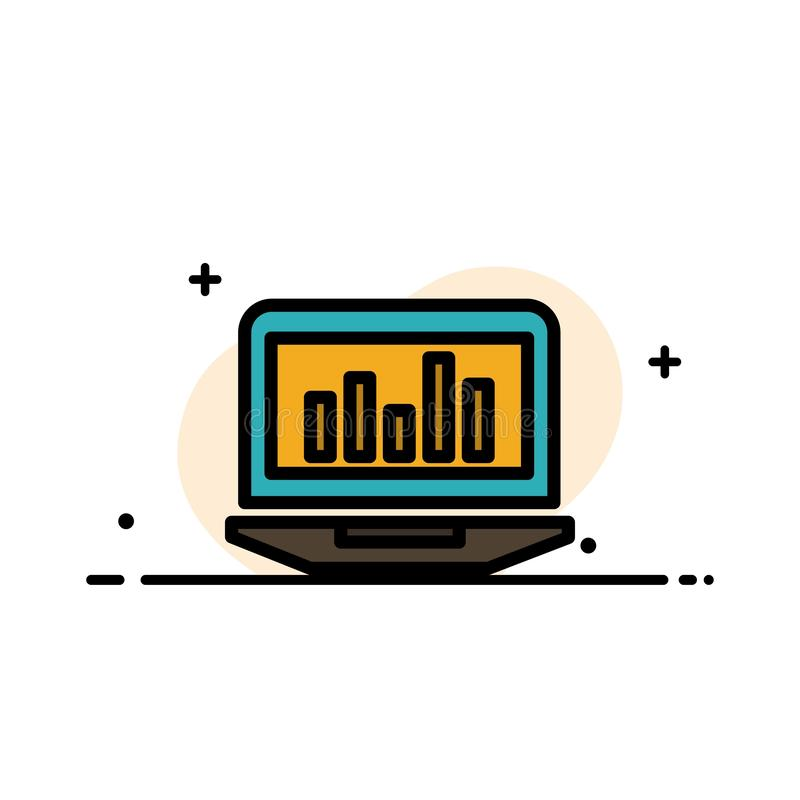 Laptop, Graph, Analytics, Monitoring, Statistics  Business Flat Line Filled Icon Vector Banner Template royalty free illustration
