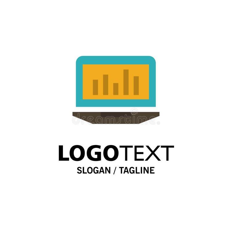 Laptop, Graph, Analytics, Monitoring, Statistics Business Logo Template. Flat Color stock illustration