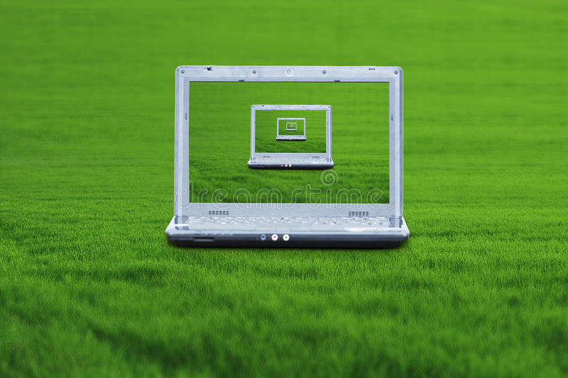 Download Laptop on green grass stock photo. Image of computing - 22821664