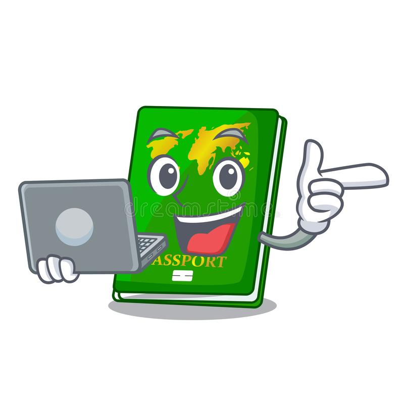 With laptop green passport in a character bag. Vector illustration royalty free illustration