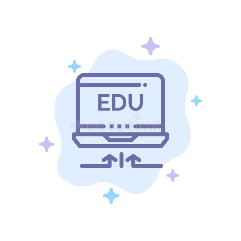 Laptop, Hardware, Arrow, Education Blue Icon on Abstract Cloud Background vector illustration