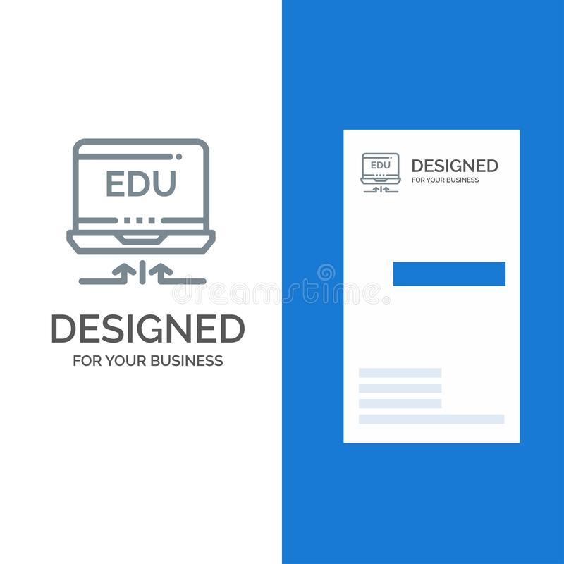 Laptop, Hardware, Arrow, Education Grey Logo Design and Business Card Template vector illustration