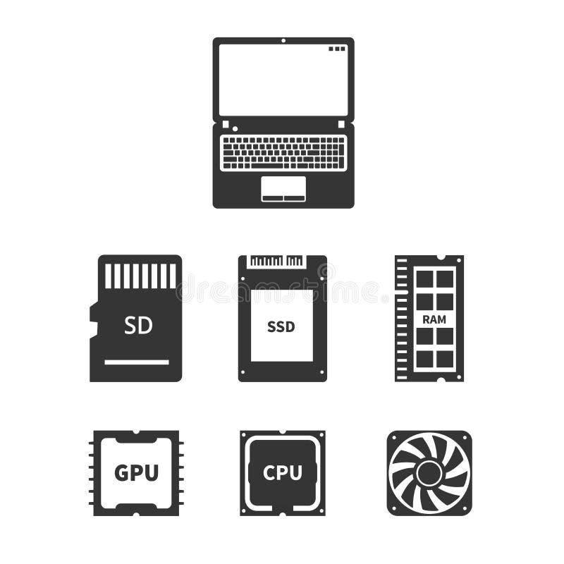 Laptop Hardware Icons vector illustration