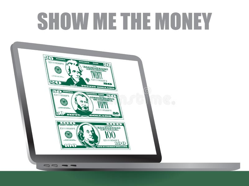 This laptop has stylized bills in high contrast style stock illustration