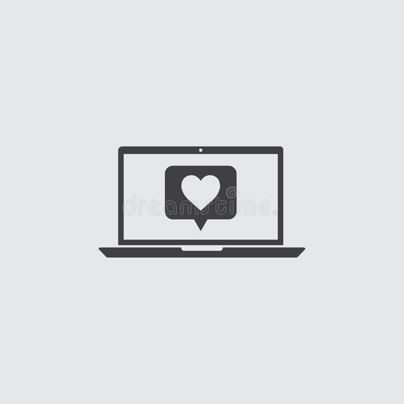 Laptop with heart icon in a flat design in black color. Vector illustration eps10 vector illustration