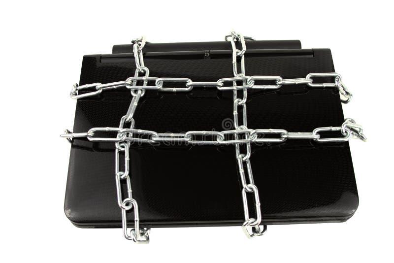 Laptop in het Concept van de Veiligheid van Kettingen stock afbeelding