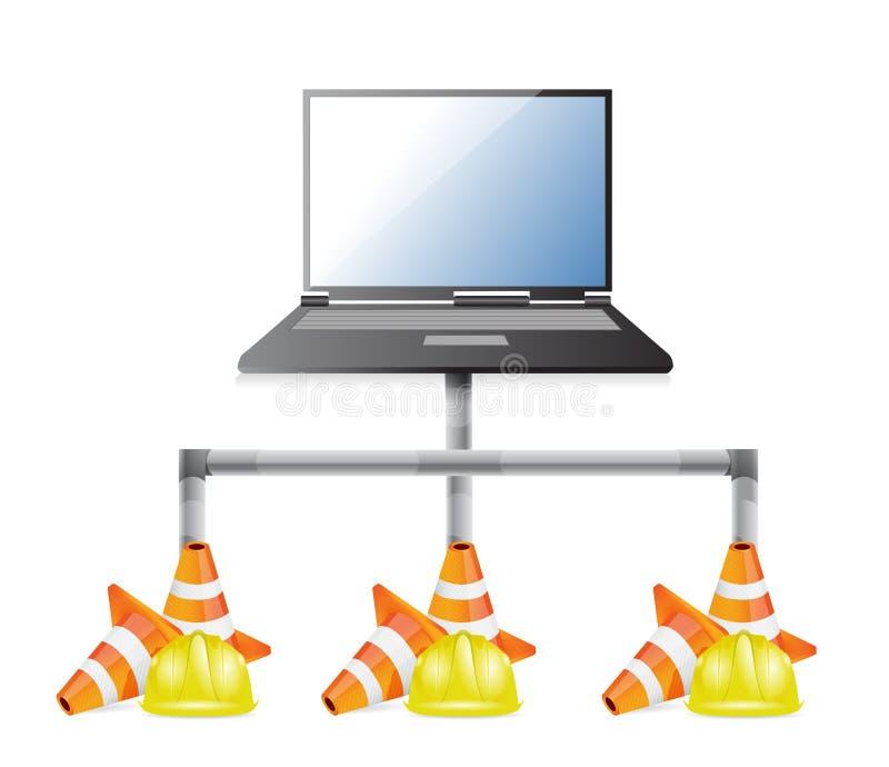 Laptop het netwerk geeft illustratieontwerp uit vector illustratie