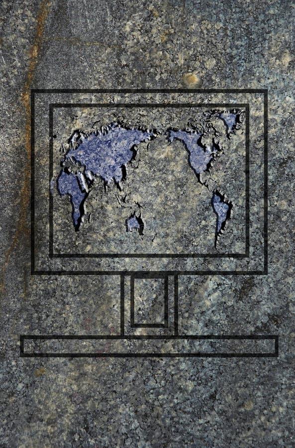 Laptop Het Scherm Met Wereldkaart Op De Granitoppervlakte Royalty-vrije Stock Foto's