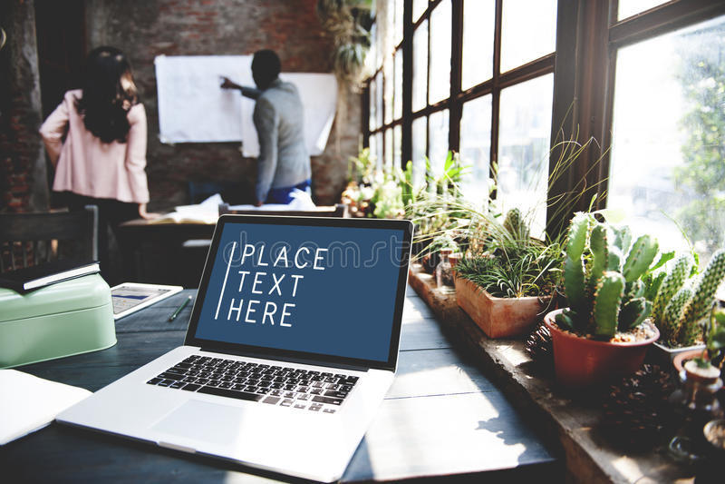 Laptop het Werk Ruimteconcept van het Technologie het Commerciële Exemplaar stock fotografie