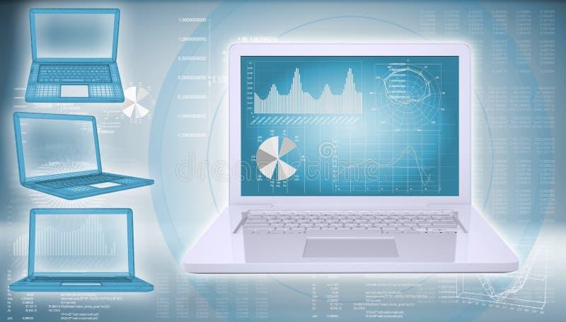 Laptop on a hi-tech background