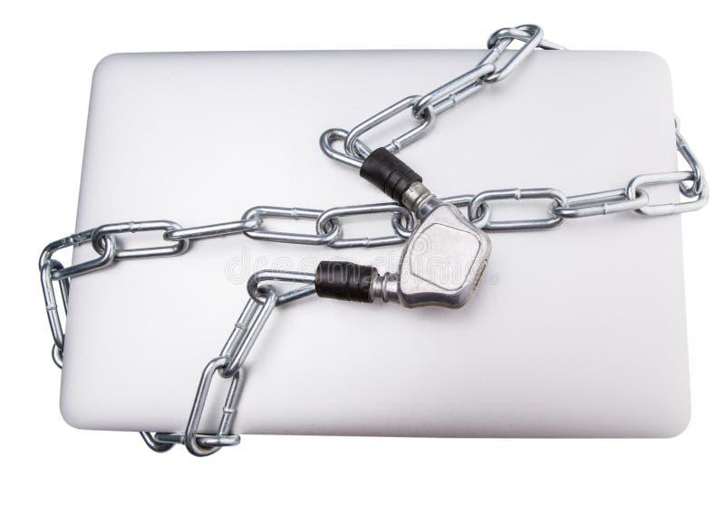 Laptop i łańcuchy IV fotografia stock