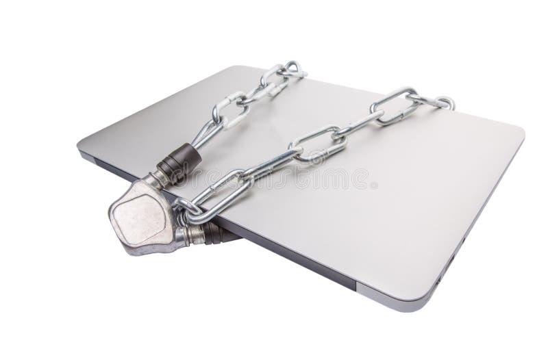 Laptop i łańcuchy VIII zdjęcia royalty free