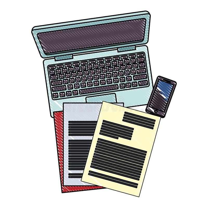 Laptop i dokumenty z smartphone skrobaniną ilustracji