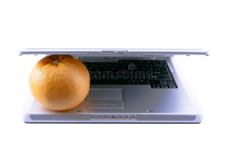 Laptop i grapefruitowy zdjęcie royalty free