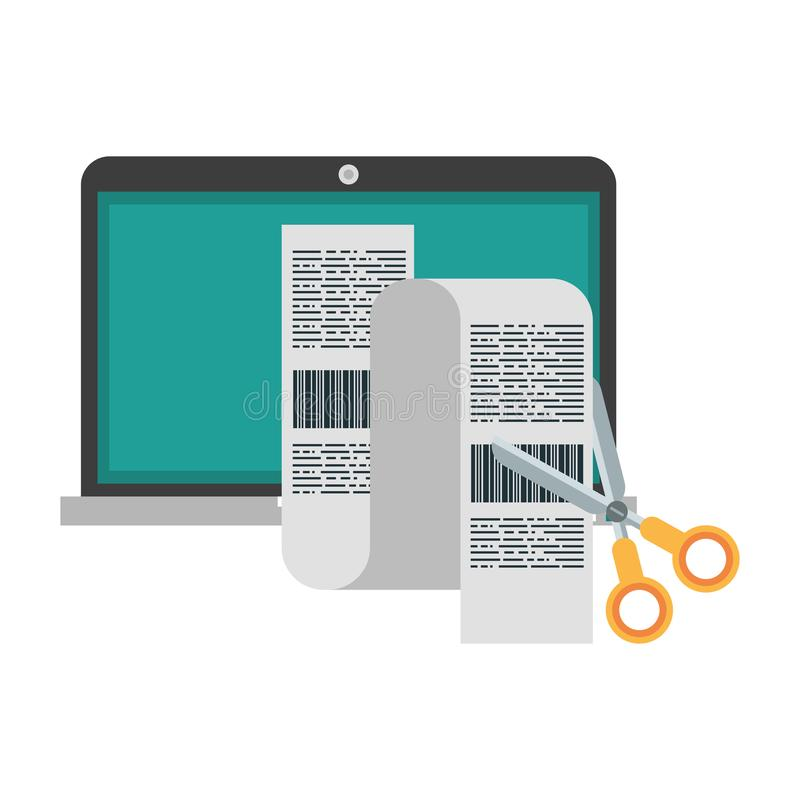 Laptop i nożyce ciie rachunki odizolowywających ilustracji