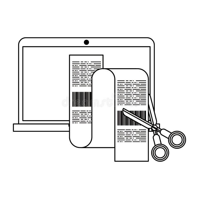 Laptop i nożyce ciie rachunki odizolowywających w czarny i biały ilustracja wektor