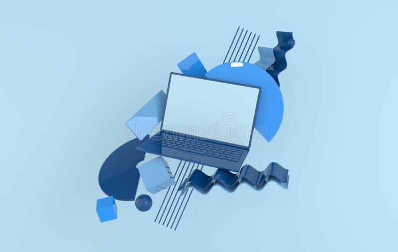 Laptop i różni geometryczni przedmioty w górę tła w nowożytnym minimalnym stylu Notatnik 3d odpłaca się w pastelowych kolorach te royalty ilustracja