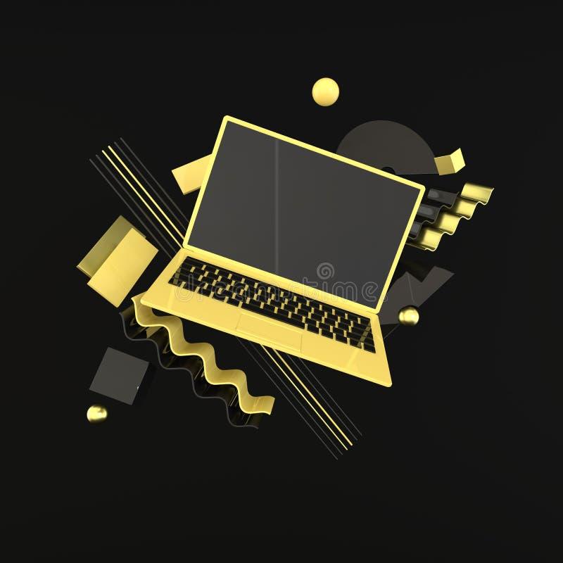 Laptop i różny geometryczny przedmiota mockup tło w nowożytnym minimalnym stylu Notatnik 3d odpłaca się w czerni i koloru żółtego ilustracji