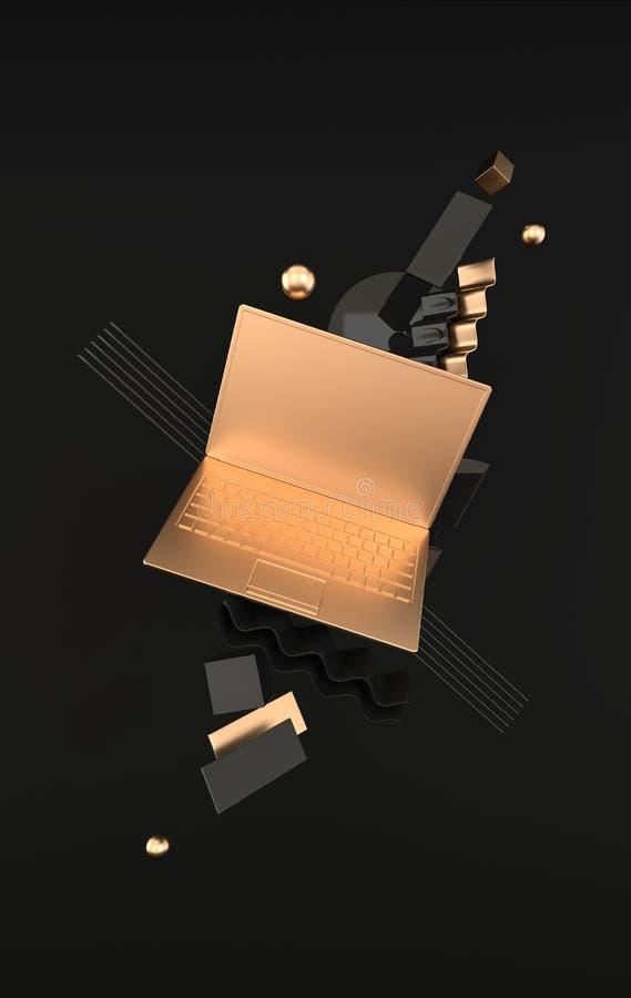 Laptop i różny geometryczny przedmiota mockup tło w nowożytnym minimalnym stylu Notatnik 3d odpłaca się w czerni i złota kolorach ilustracji