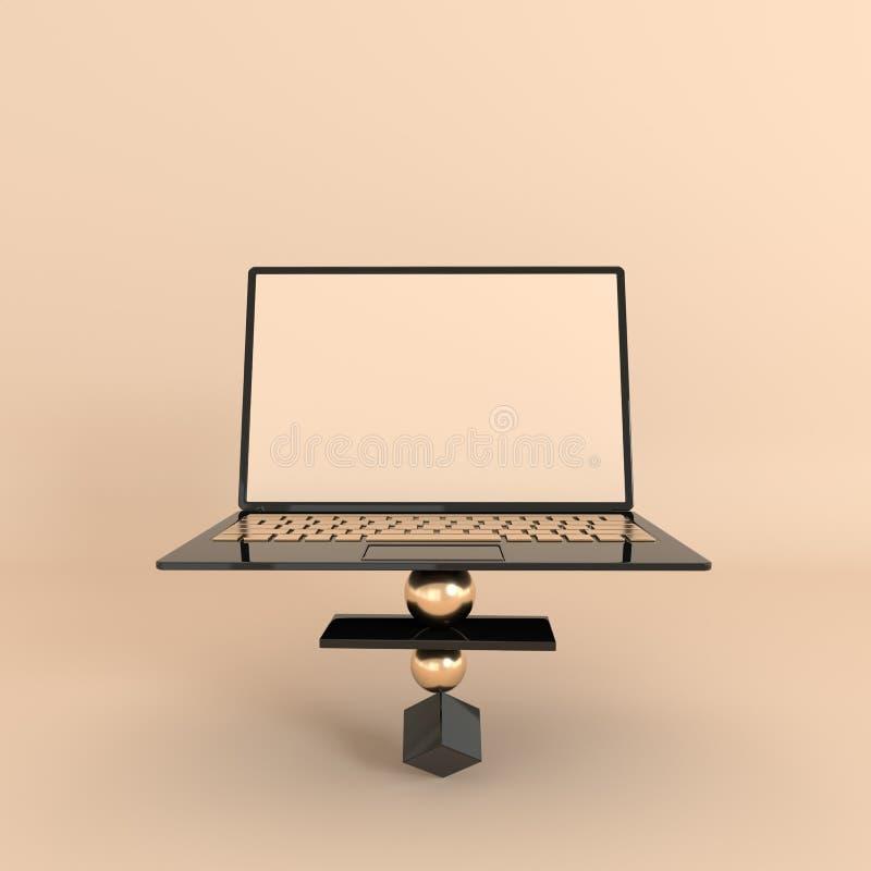 Laptop i różny geometryczny przedmiota mockup tło w nowożytnym minimalnym stylu Notatnik 3d odpłaca się w czerni i złota kolorach royalty ilustracja