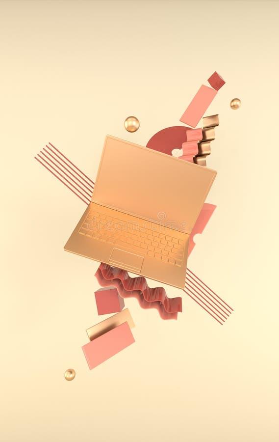 Laptop i różny geometryczny przedmiota mockup tło w nowożytnym minimalnym stylu Notatnik 3d odpłaca się w pastelowych i złotych k ilustracja wektor