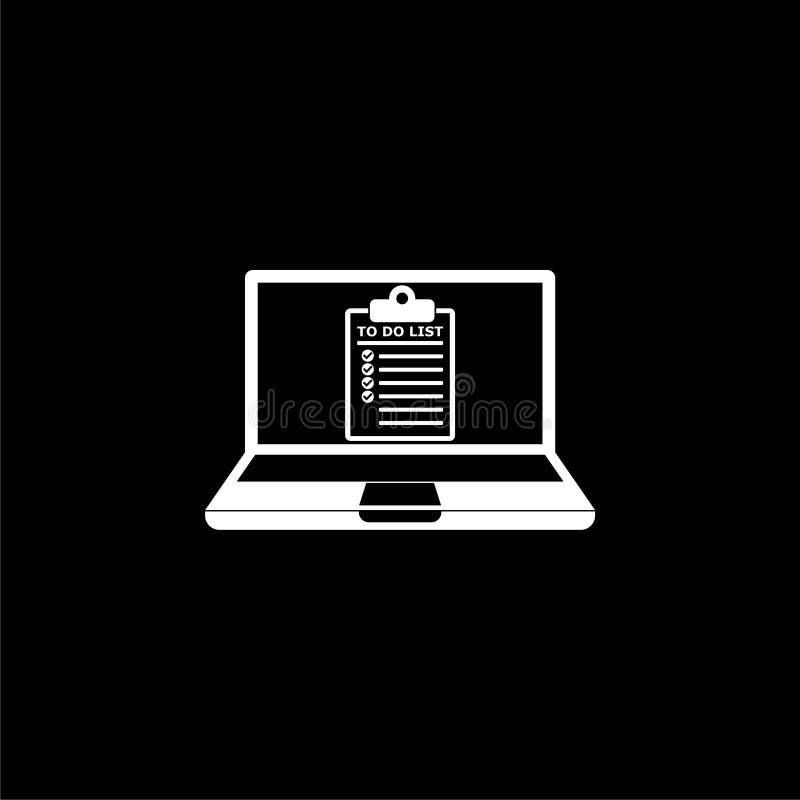 Laptop i Robić liście Robić liście na laptopu ekranu ikonie lub logo na ciemnym tle, ilustracja wektor