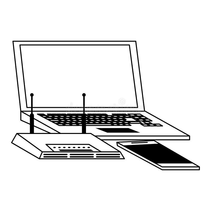 Laptop i smartphone z wifi routeru przyrządem w czarny i biały royalty ilustracja