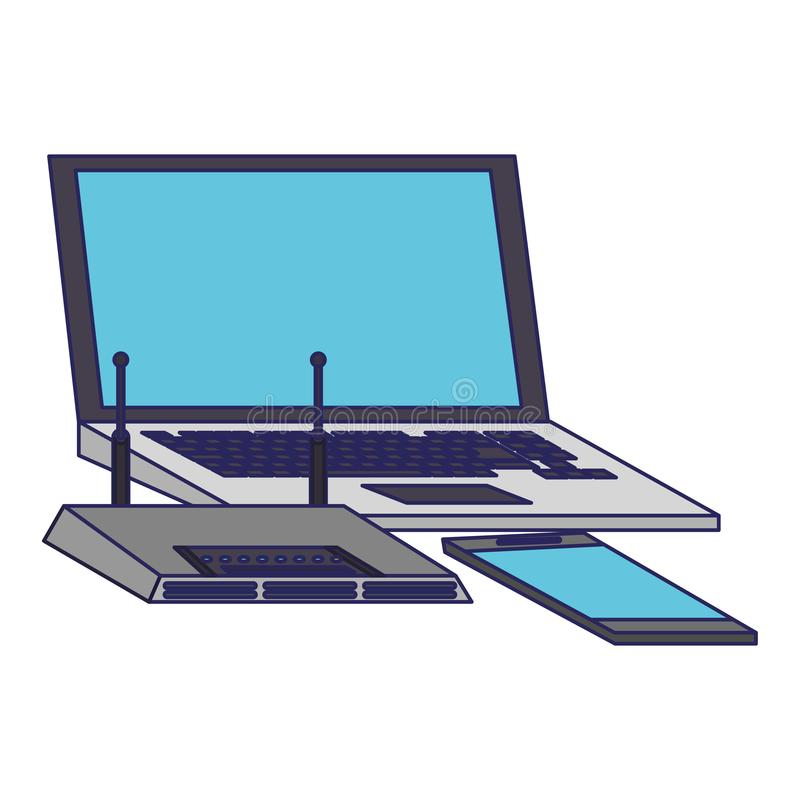 Laptop i smartphone z wifi routeru przyrządu niebieskimi liniami ilustracja wektor