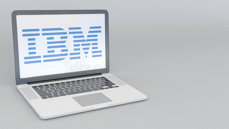 Laptop with IBM logo. Computer technology conceptual editorial 3D rendering vector illustration