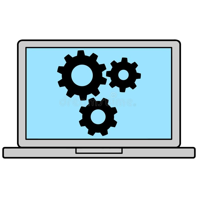 Laptop Icon with Gears vector illustration