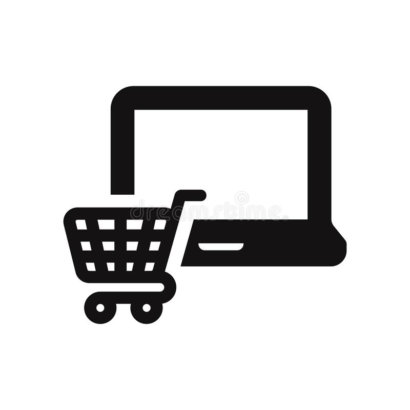 Laptop icon with shopping cart sign. Modern and simple flat symbol for web site, mobile, logo, app, UI. stock illustration