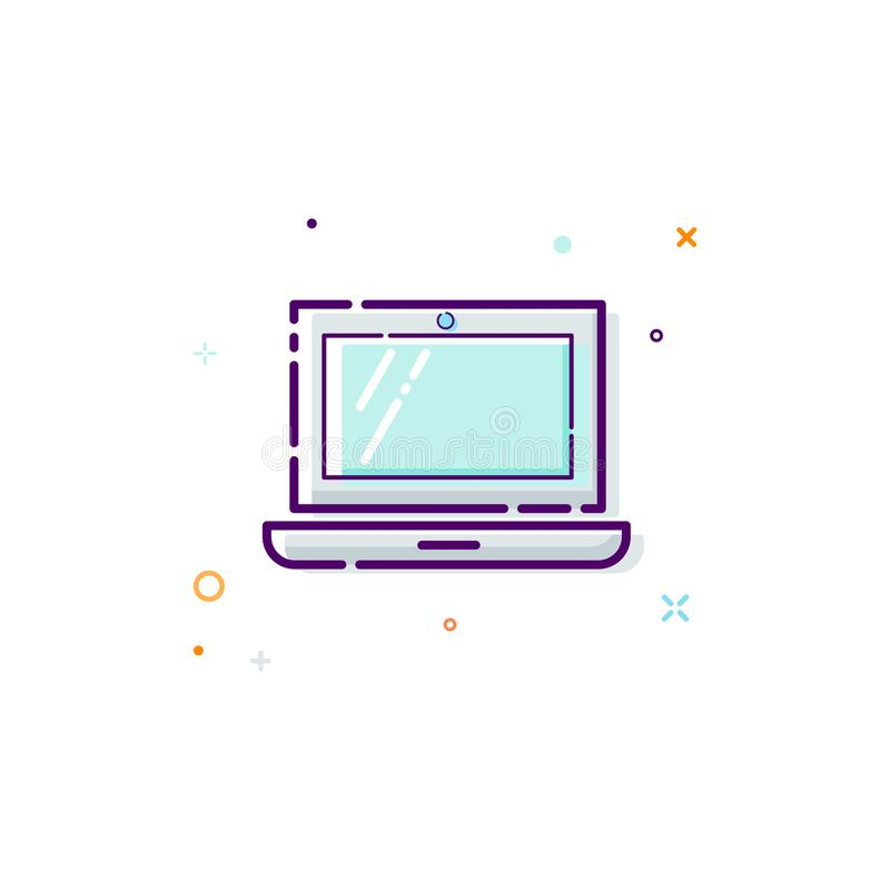 Laptop icon, thin line flat design concept. Computer icon isolated on white background. Vector illustration royalty free illustration