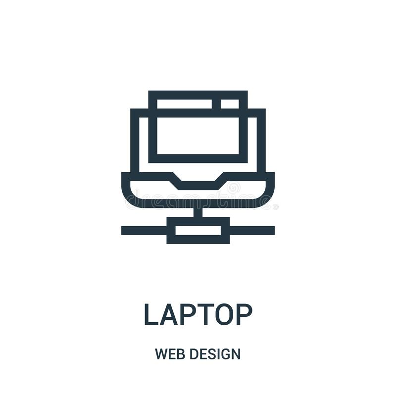 laptop icon vector from web design collection. Thin line laptop outline icon vector illustration stock illustration