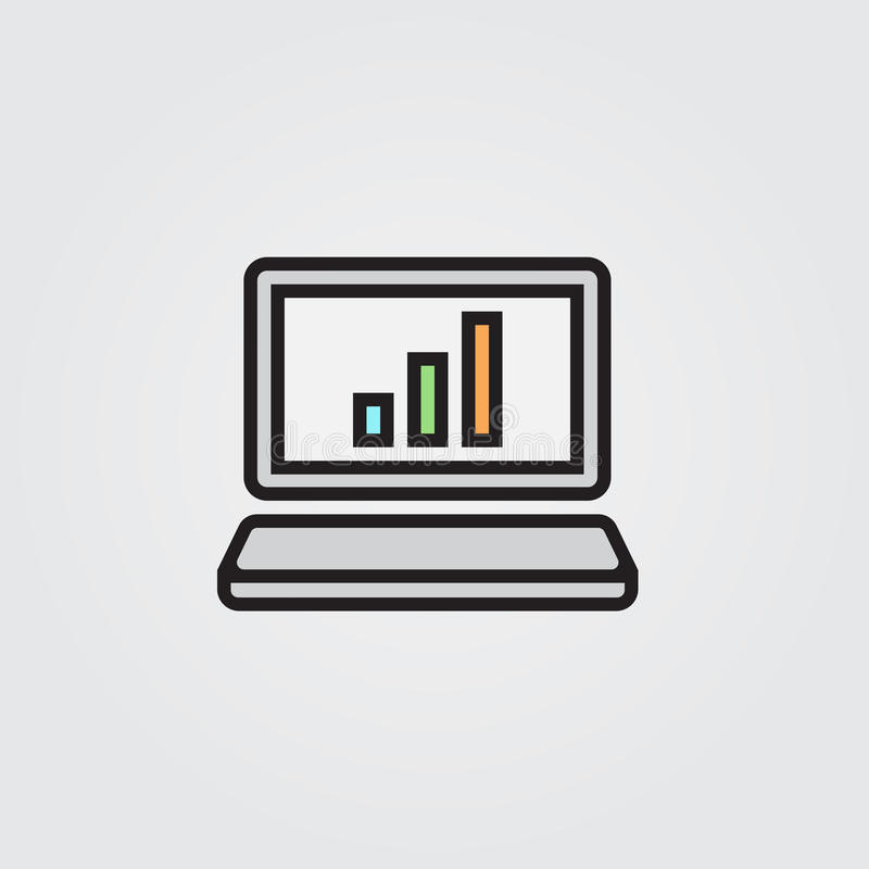 Laptop ikona Ilustracja odizolowywająca na białym tle dla grafiki i sieci projekta ilustracja wektor