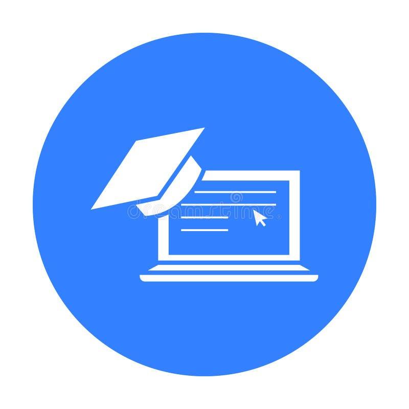 Laptop ikona Pojedyncza edukaci ikona od dużej szkoły, uniwersytet ilustracji