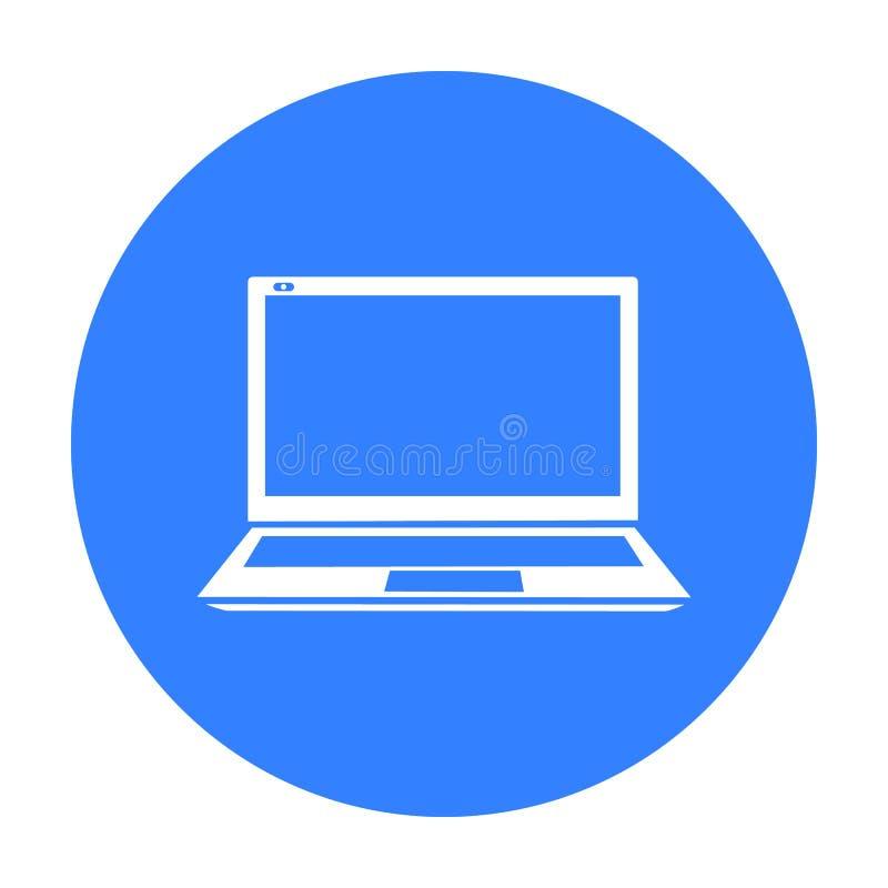 Laptop ikona w czerń stylu odizolowywającym na białym tle Osobistego komputeru symbolu zapasu wektoru ilustracja ilustracja wektor