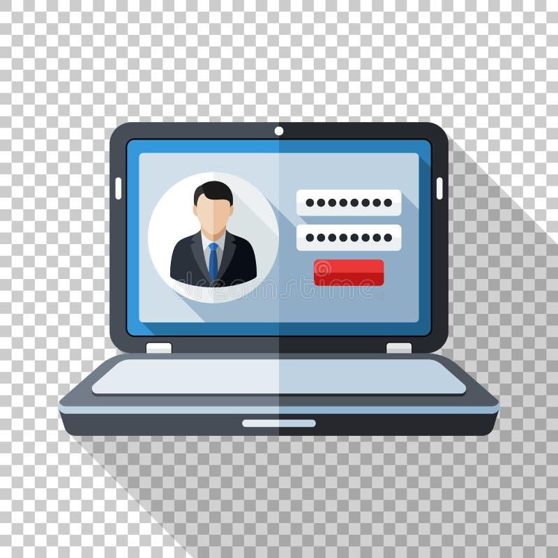 Laptop ikona w mieszkanie stylu z użytkownik nazwy użytkownika formą na ekranie na przejrzystym tle royalty ilustracja