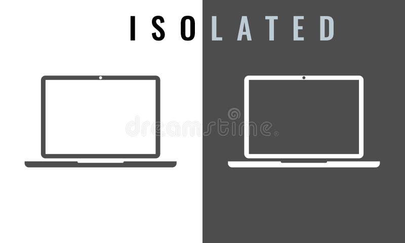 Laptop-Ikone Schwarzweiss-Farbvektorillustration lizenzfreie abbildung