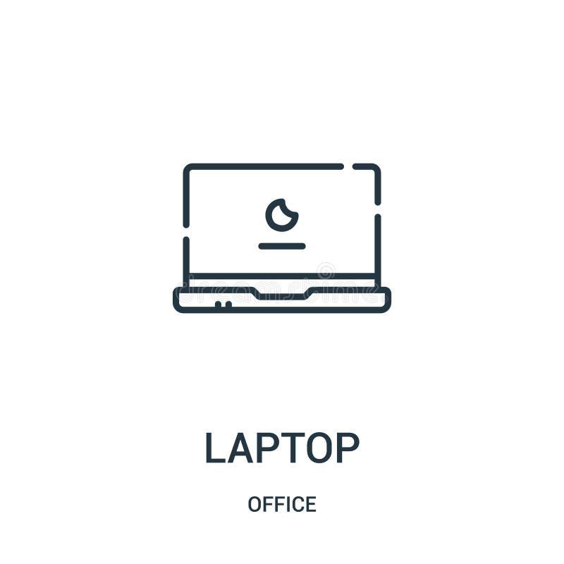 laptop ikony wektor od biurowej kolekcji Cienka kreskowa laptopu konturu ikony wektoru ilustracja ilustracja wektor