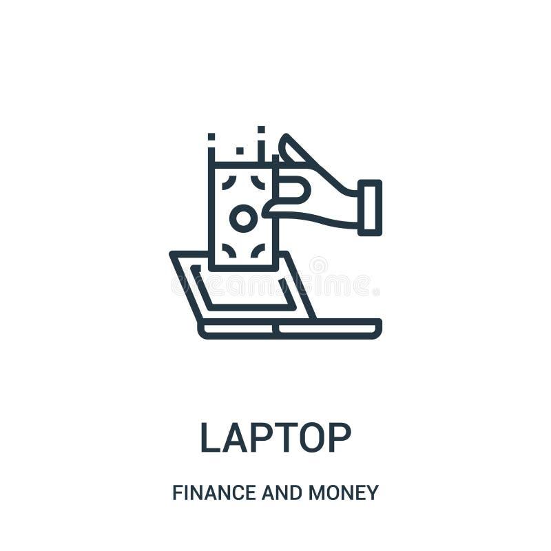 laptop ikony wektor od finanse i pieniądze kolekcji Cienka kreskowa laptopu konturu ikony wektoru ilustracja ilustracja wektor