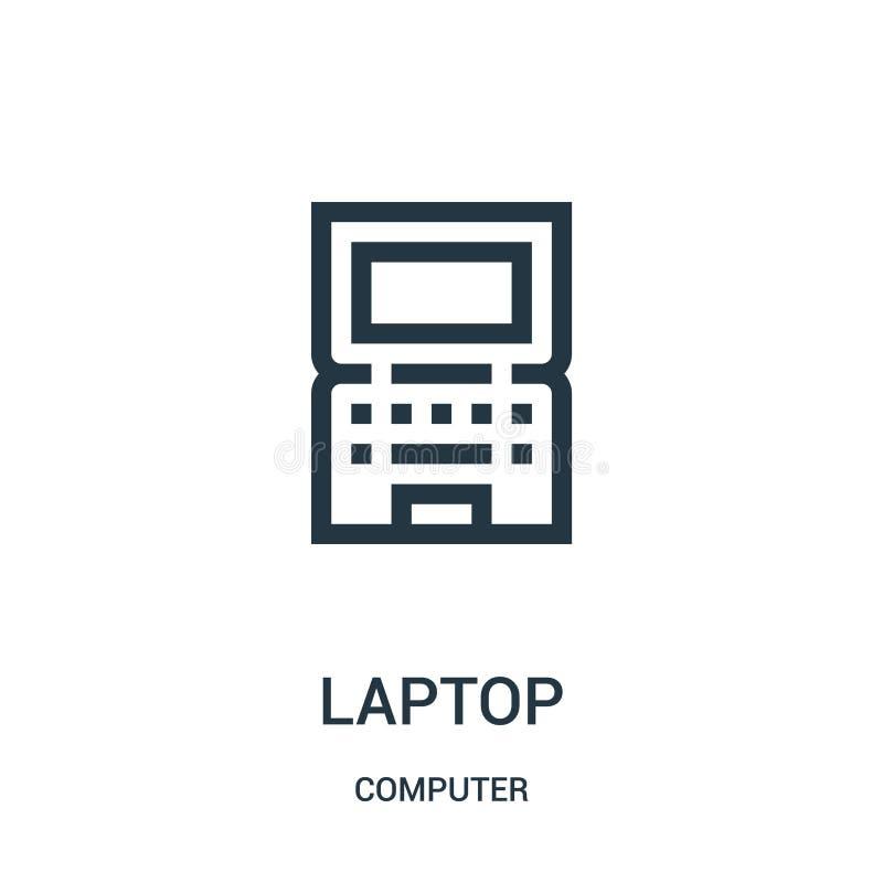 laptop ikony wektor od komputerowej kolekcji Cienka kreskowa laptopu konturu ikony wektoru ilustracja ilustracji