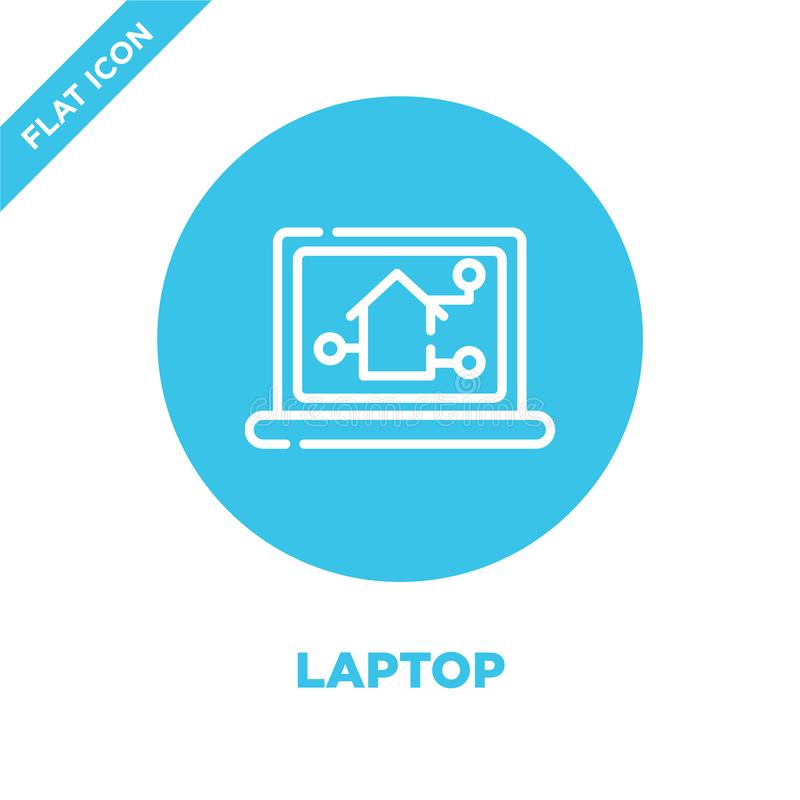 laptop ikony wektor od mądrze domowej kolekcji Cienka kreskowa laptopu konturu ikony wektoru ilustracja Liniowy symbol dla używa  royalty ilustracja