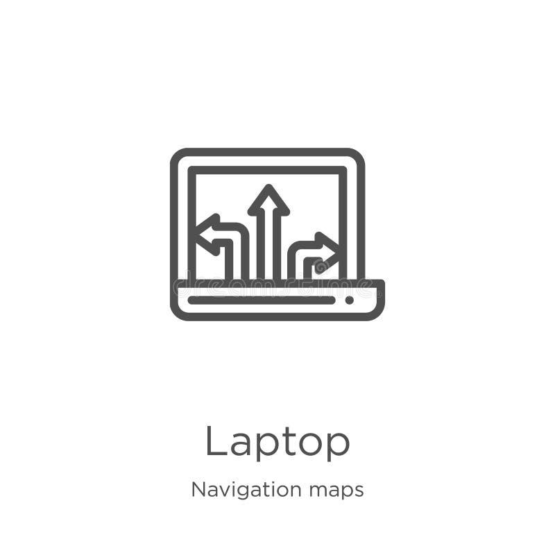 laptop ikony wektor od nawigacji map kolekcji Cienka kreskowa laptopu konturu ikony wektoru ilustracja Kontur, cienieje kreskoweg royalty ilustracja