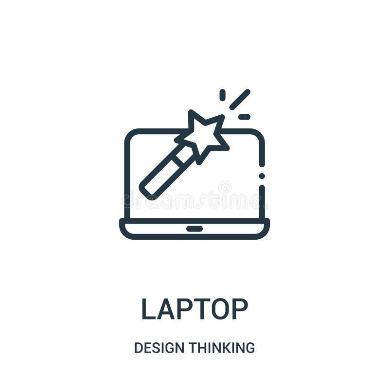 laptop ikony wektor od projekt myślącej kolekcji Cienka kreskowa laptopu konturu ikony wektoru ilustracja royalty ilustracja