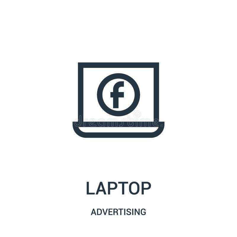 laptop ikony wektor od reklamowej kolekcji Cienka kreskowa laptopu konturu ikony wektoru ilustracja ilustracja wektor