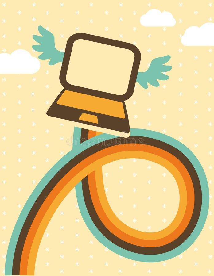 Laptop im Himmel lizenzfreie abbildung