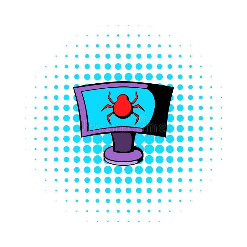 Laptop infekuje malware ikoną royalty ilustracja