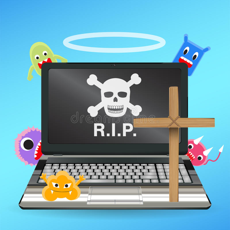 Laptop inoperante pelo vetor contaminado vírus ilustração royalty free
