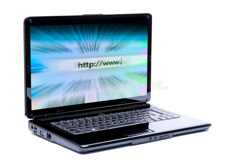 Laptop with internet. Laptop with fast internet concept isolated on a white background